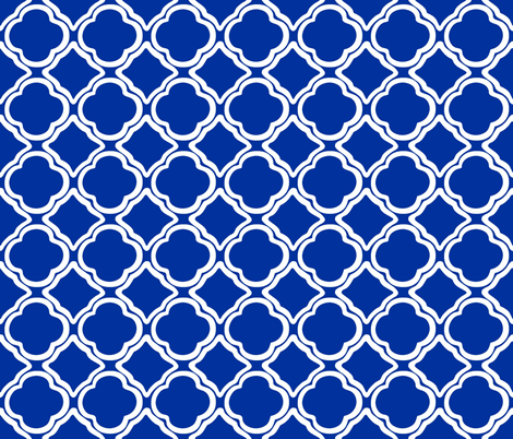 Trellis Cobalt fabric by lulabelle on Spoonflower - custom fabric