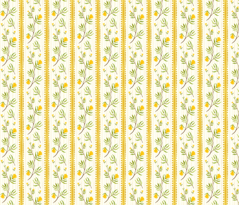 Sprig Stripe Natural - Frolic Collection fabric by gollybard on Spoonflower - custom fabric