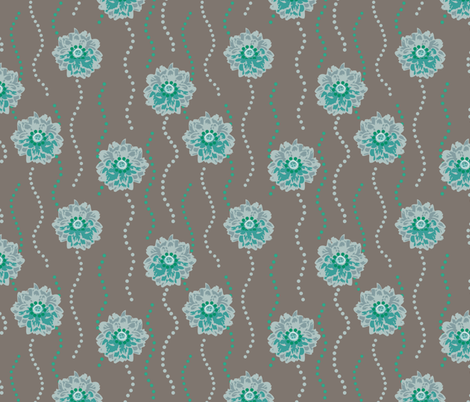 Dancing Blooms - Mint & Pewter fabric by dianef on Spoonflower - custom fabric