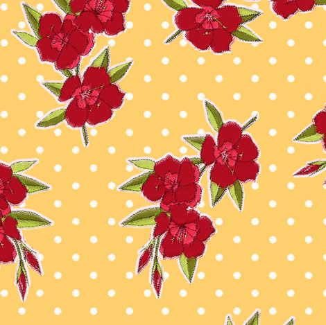 Mad Men Inspired- Vintage Red Flowers on Yellow with Dots fabric by stitchwerxdesigns on Spoonflower - custom fabric