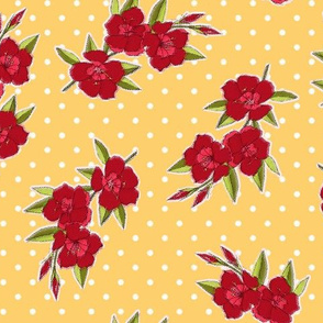 Mad Men Inspired- Vintage Red Flowers on Yellow with Dots