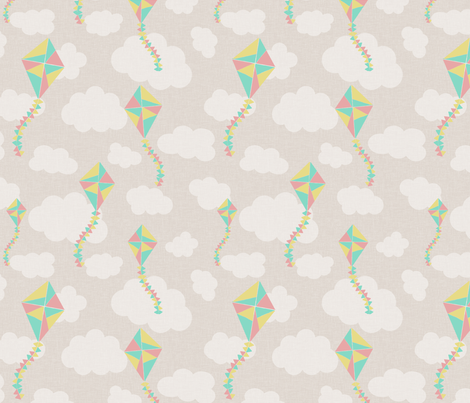 kites_beige fabric by glorydaze on Spoonflower - custom fabric