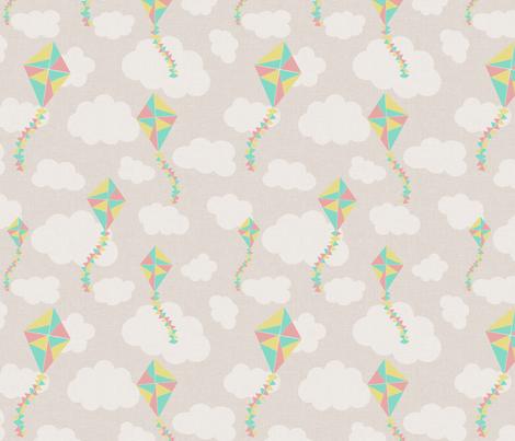 kites_beige fabric by glorydaze on Spoonflower - custom fabric
