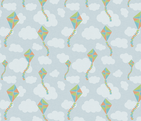 kites_blue fabric by glorydaze on Spoonflower - custom fabric