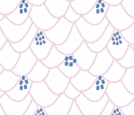 Sapphire and Pink Pearls fabric by janelle_wooten on Spoonflower - custom fabric