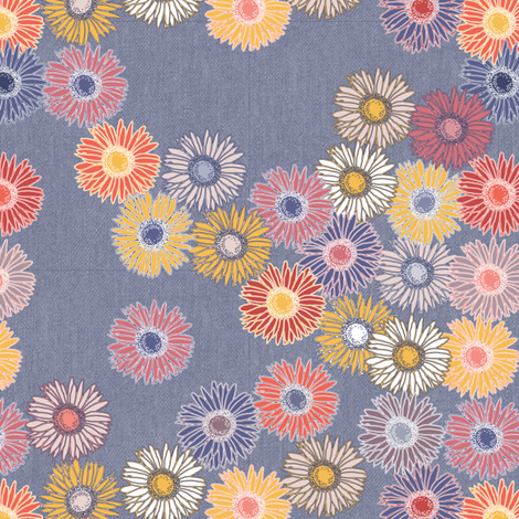 Gerbera Daisies in Sunset Beach fabric by creative_merritt on Spoonflower - custom fabric