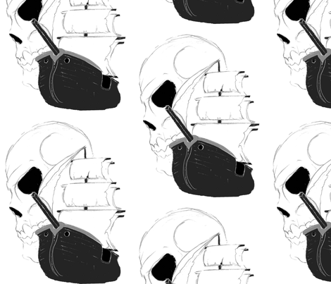Skull Pirate Ship fabric by little_treasures on Spoonflower - custom fabric