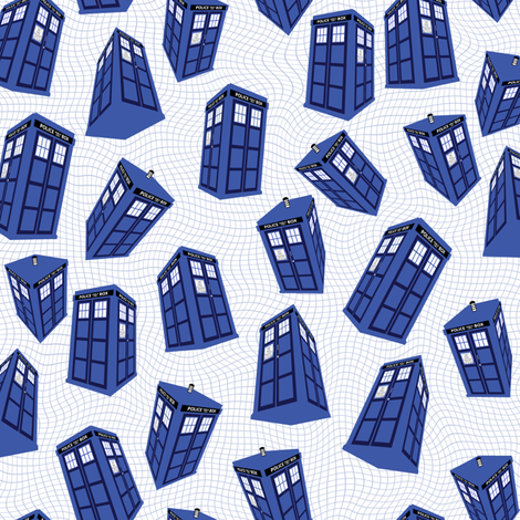 Doctor Who - Spinning tardis on white fabric by spacefem on Spoonflower - custom fabric
