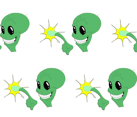 Green Alien fabric by little_treasures on Spoonflower - custom fabric