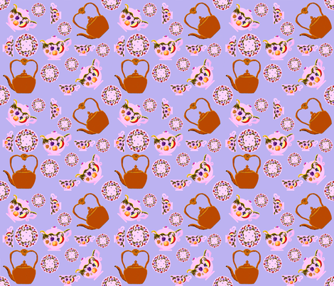 Tea Time: Fruit And Leaves Pattern On Teapot, Teacup, Copper Teakettle, And Plate fabric by fabricatedframes on Spoonflower - custom fabric