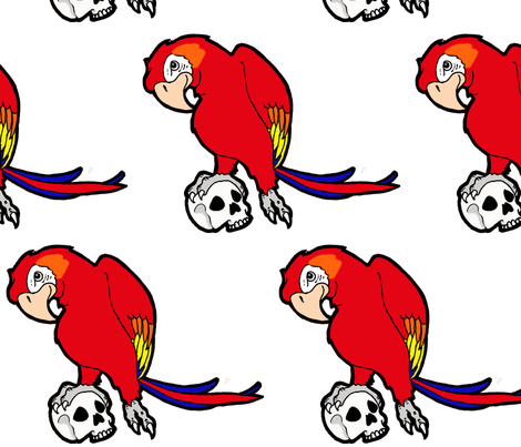 Parrot Skull fabric by little_treasures on Spoonflower - custom fabric