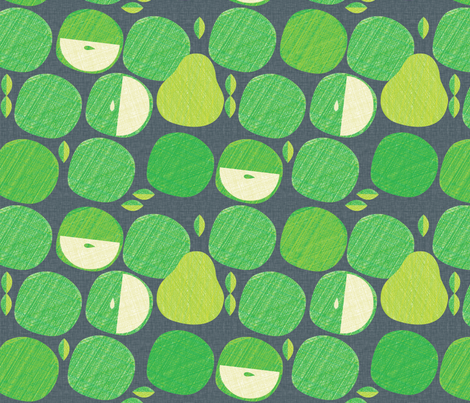 Apples & Evening Pears (linen) fabric by spellstone on Spoonflower - custom fabric