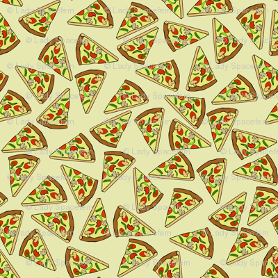 Scattered pizza slices