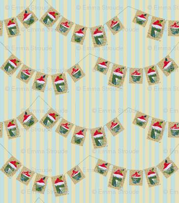 Cherry Bun Bunting (on stripes)