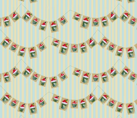 Cherry Bun Bunting (on stripes) fabric by wednesdaysgirl on Spoonflower - custom fabric