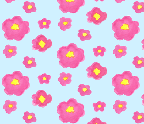 Pink Flowers on Blue fabric by arttreedesigns on Spoonflower - custom fabric