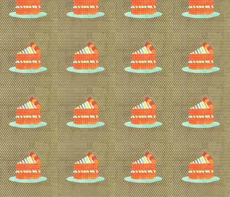 cake slice brown fabric by krihem on Spoonflower - custom fabric