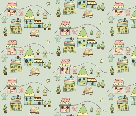 Winter Village fabric by anikabee on Spoonflower - custom fabric