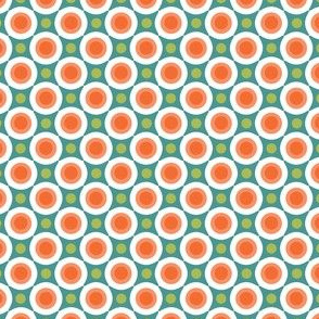 Turquoise Green Peach Orange Dots