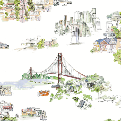 San Francisco Hill houses fabric by ephm_design on Spoonflower - custom fabric