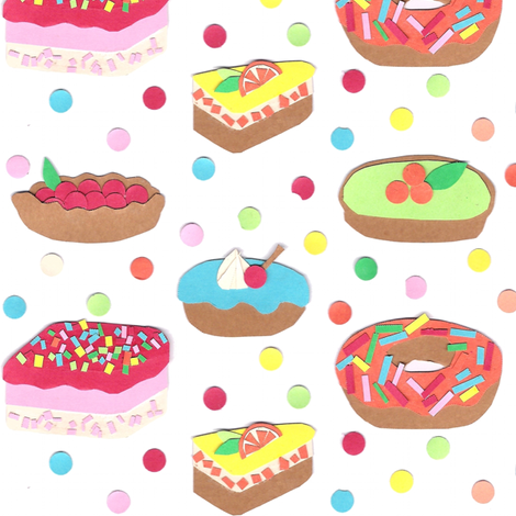 Colorfull cakes (paper collage) fabric by mariao on Spoonflower - custom fabric