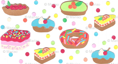 Colorfull cakes (paper collage)
