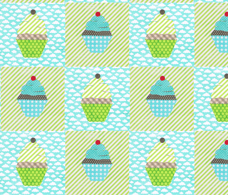 cake collage cupcake checks fabric by krihem on Spoonflower - custom fabric