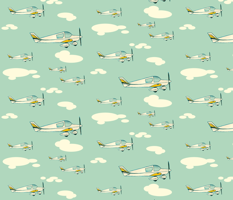 two-seater planes  over blue. fabric by ukgypsy on Spoonflower - custom fabric