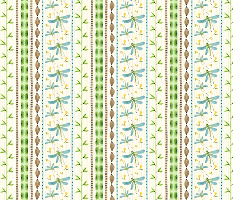 Dragonfly Stripe Natural - Frolic Collection fabric by gollybard on Spoonflower - custom fabric