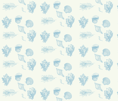 shells_delft_blue fabric by hookedbyk on Spoonflower - custom fabric