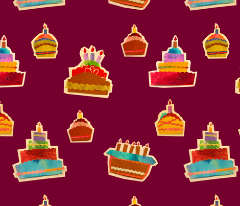 Paper Collage Cakes fabric by padeshahoo on Spoonflower - custom fabric