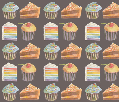 cakes and cakes *grey fabric by mightypigeon on Spoonflower - custom fabric
