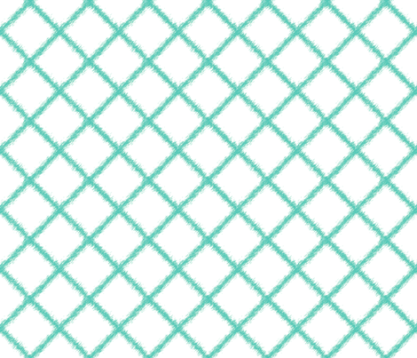 Ikat Lattice Aqua fabric by lulabelle on Spoonflower - custom fabric