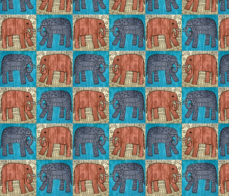 Elephants x 4 fabric by linsart on Spoonflower - custom fabric