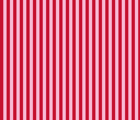 red and pink 1/2 inch stripe fabric by littlemisscrow on Spoonflower - custom fabric