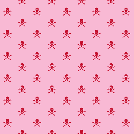 Red Skull and Crossbones on Pink fabric by littlemisscrow on Spoonflower - custom fabric