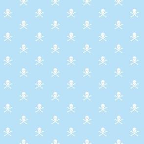 White Skull and Crossbones on Blue