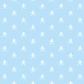 White Skull and Crossbones on Blue