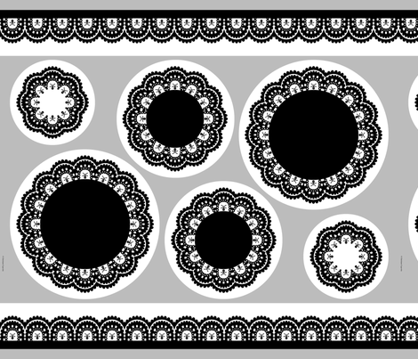 cut & sew Skull and Crossbones Lace Ruffles - Black on White fabric by littlemisscrow on Spoonflower - custom fabric