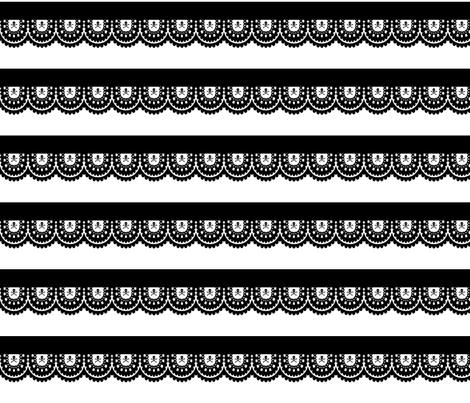 cut & sew Skull and Crossbones Straight Lace Ruffles - Black on White fabric by littlemisscrow on Spoonflower - custom fabric