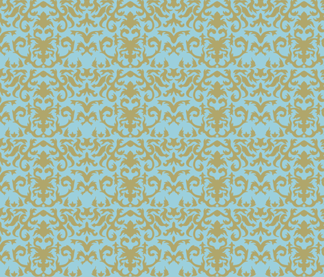 Damask in Gold and Powder Blue fabric by evenspor on Spoonflower - custom fabric