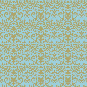 Damask in Gold and Powder Blue