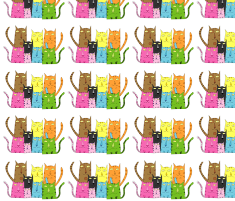 cat family fabric by pinny on Spoonflower - custom fabric