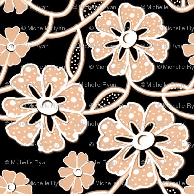 50s Fabrics Lace White & Pale Burnt Orange