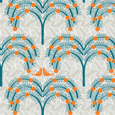 Orange Grove 3 fabric by sary on Spoonflower - custom fabric