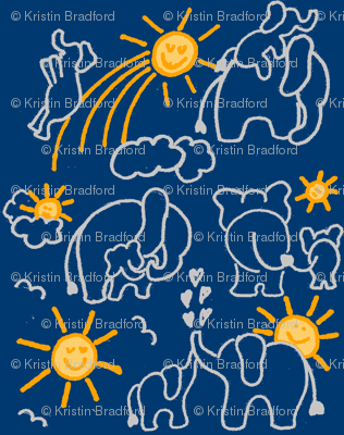 You Are My Sunshine Elephants in Navy Blue