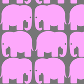 Pink Gray Elephants Silhouette