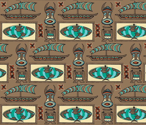 International Basement Traveler in weathered wood fabric by sophista-tiki_by_dawn_frasier on Spoonflower - custom fabric