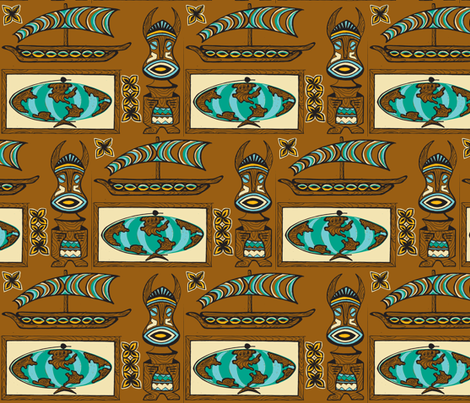 International Basement Traveler in waxed wood- fabric by sophista-tiki on Spoonflower - custom fabric