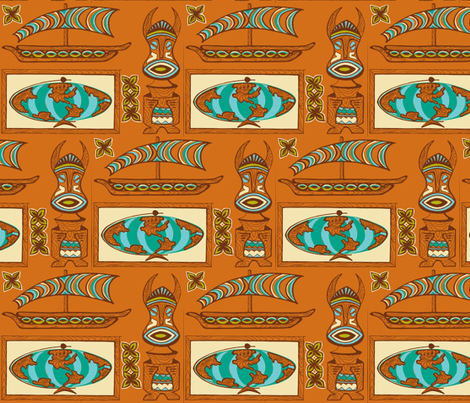International Basement Traveler in rust fabric by sophista-tiki on Spoonflower - custom fabric